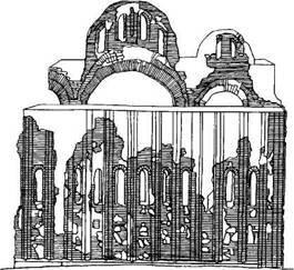 Рис. 120. Восточный фасад церкви Св. Василия в Овруче (по обмеру А. В. Щусева)
