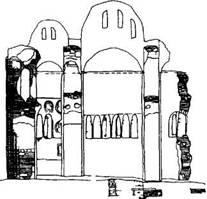 Рис. 123. Внутренний вид (по обмеру А. В. Щусева)