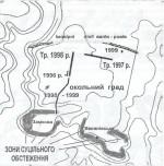 Рис. 2. Динаміка історико-географічного розвитку давнього Овруча.  А. Схема розташування археологічно досліджених ділянок культурного шару в історичній частині Овруча.