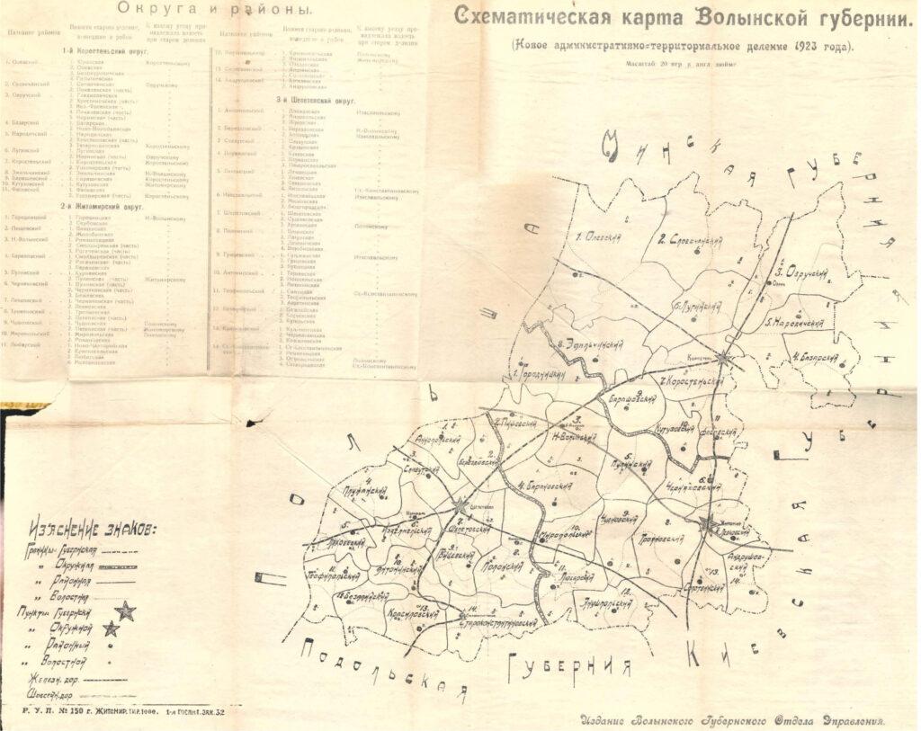 Матеріали по адміністративно-територіальному поділу Волинської губернії 1923 року